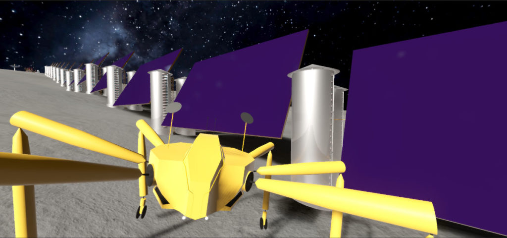 Our giant yellow rover drives up to the flywheel towers, each set of two is connected to a giant solar panel beside them