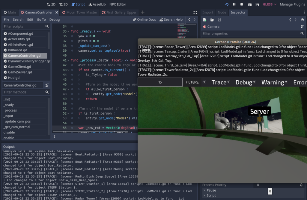 Godot game engine editor screen,