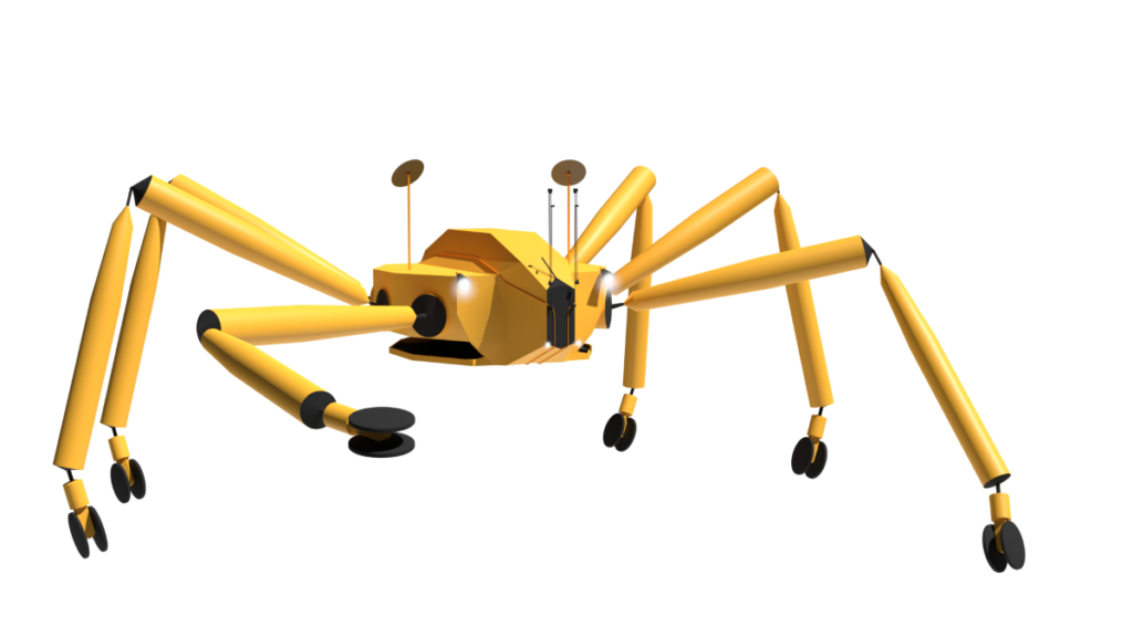 futuristic version of Athlete rover with ball joints