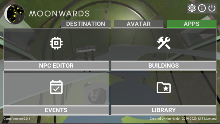 main menu of the game, tabs at top show options of Destination, Avatar, and Apps, The Apps tab is shown, with four subsections of NPC editor, Building, Events, and Library