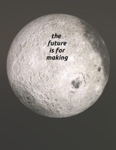 moon's far side gently lit with slogan
