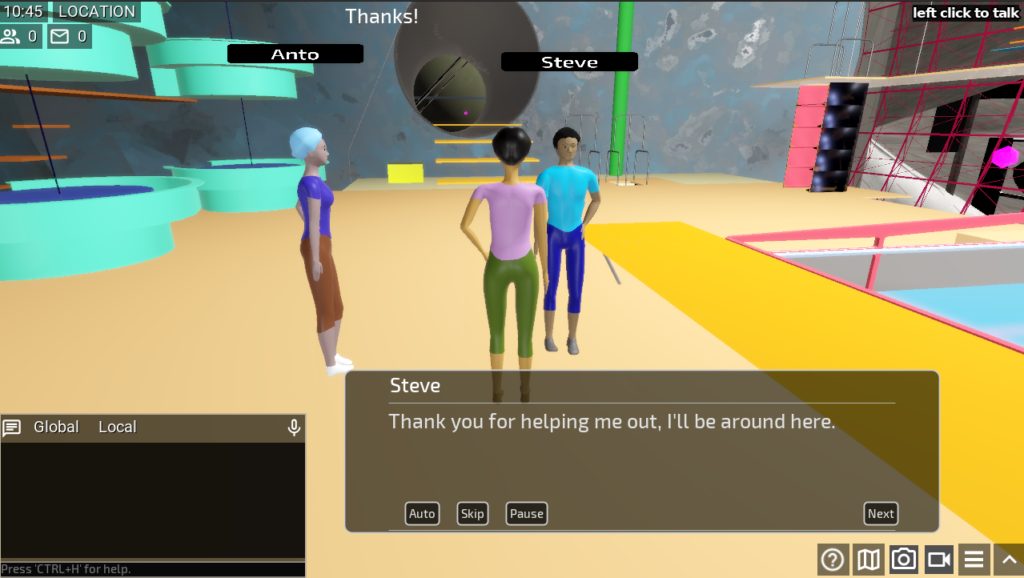 An artificial game character having dialogue with a player